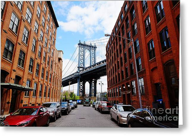 Manhattan Bridge Seen From A Red Brick Greeting Card