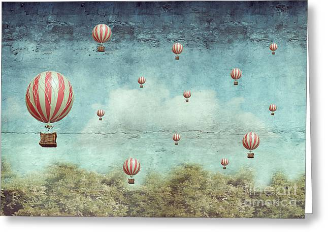 Many Hot Air Balloons Flying Over A Greeting Card