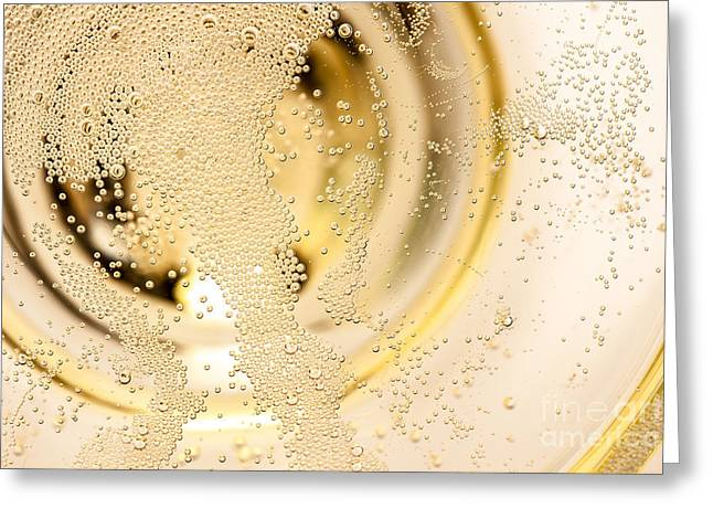 Many Tiny Bubbles In A Champagne Glass Greeting Card