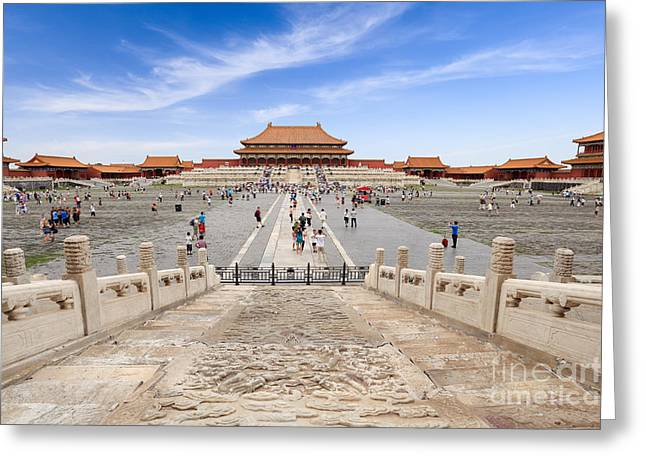 Many Tourists In The Forbidden City Greeting Card