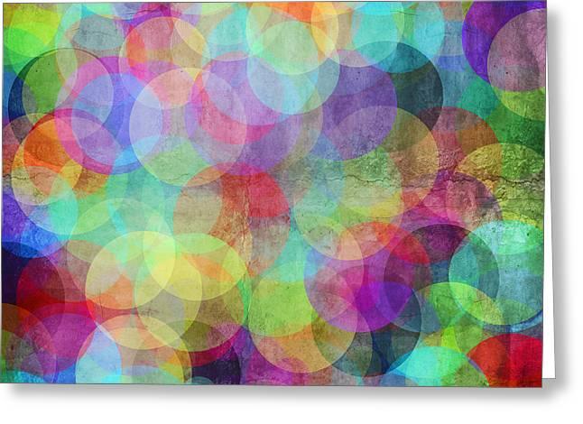 Many Vivid Color Circles On A Grunge Greeting Card