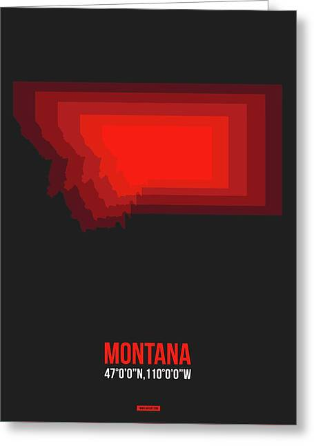 Map Of Montana Red Greeting Card