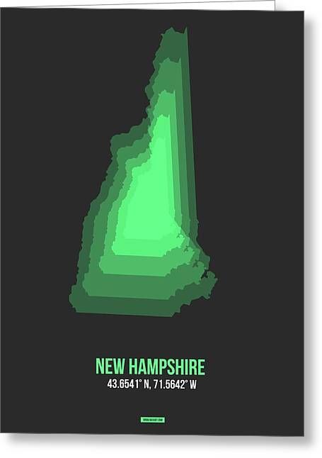Map Of New Hampshire Green Greeting Card