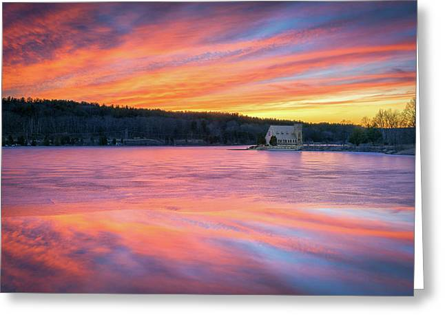 March Sunset At The Old Stone Church Greeting Card