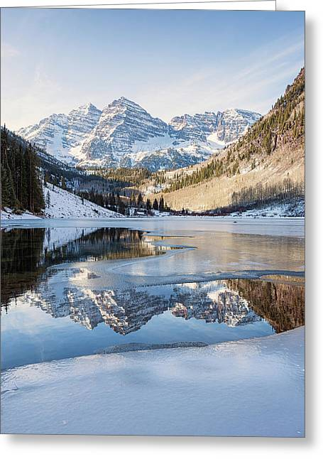 Maroon Bells Reflection Winter Greeting Card