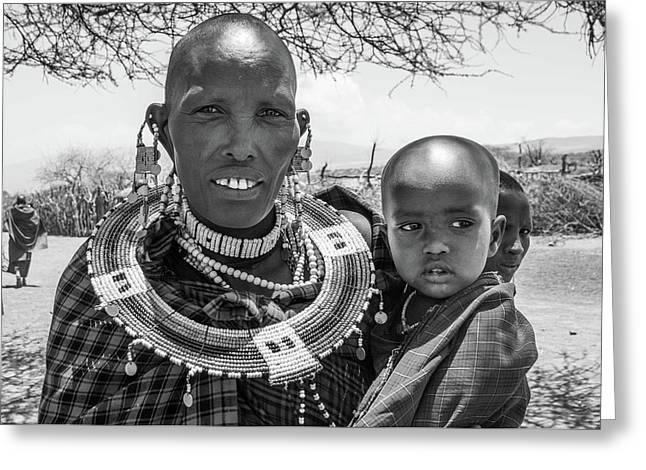 Masaai Mother And Child Greeting Card