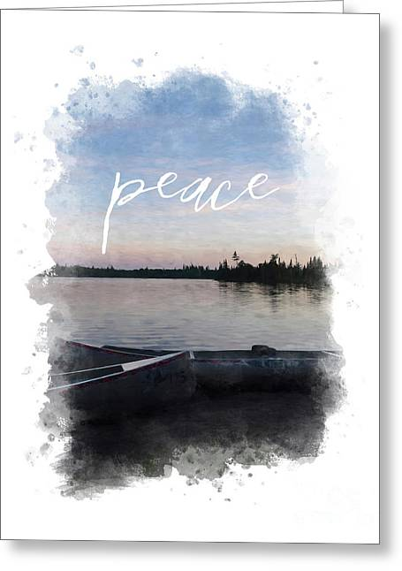 Masculine Wall Art, Peaceful Canoe At Sunset By Lake Greeting Card