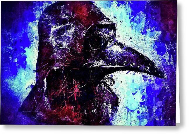 Greeting Card featuring the mixed media Plague Mask 3 by Al Matra