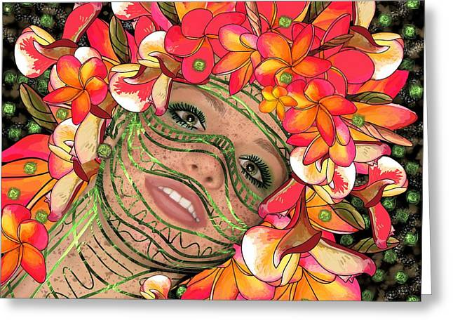 Mask Freckles And Flowers Greeting Card