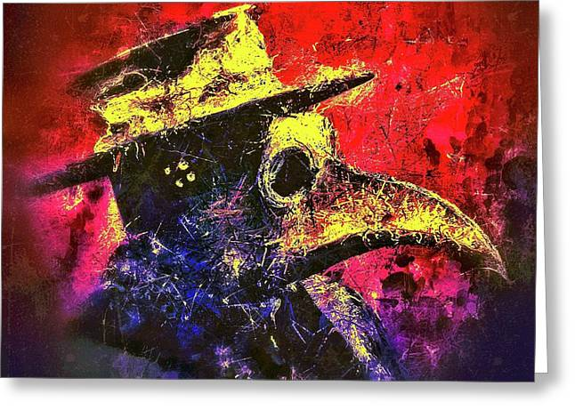 Greeting Card featuring the mixed media Plague Mask  by Al Matra