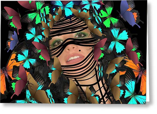 Mask Of Butterflies And Bondage Greeting Card