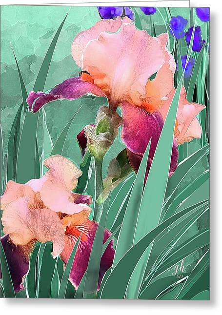 Greeting Card featuring the digital art May Garden by Gina Harrison