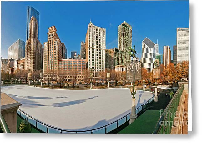 Mccormick Tribune Plaza Ice Rink And Skyline   Greeting Card
