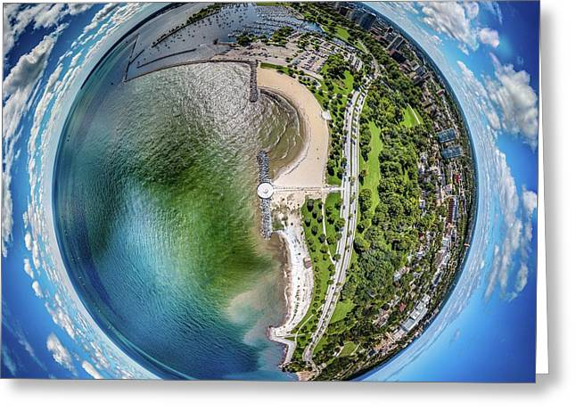 Greeting Card featuring the photograph Mckinley Park Little Planet by Randy Scherkenbach