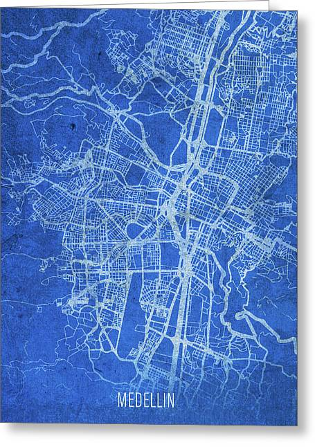 Medellin Colombia City Street Map Blueprints Greeting Card