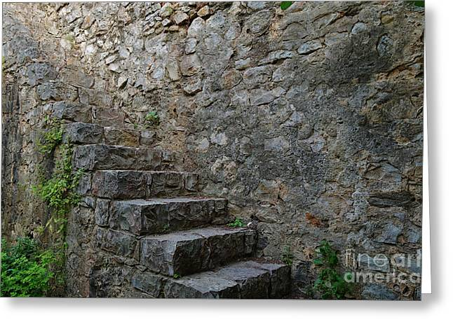 Medieval Wall Staircase Greeting Card
