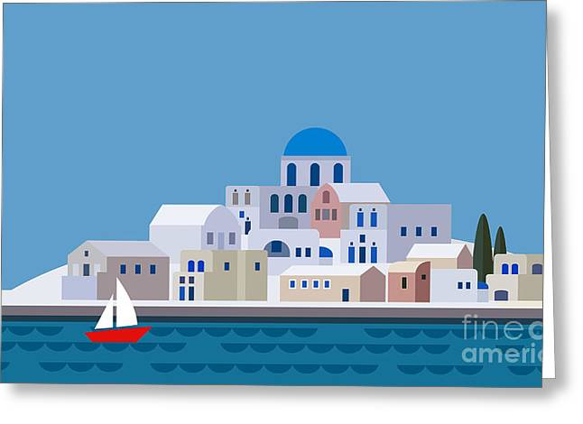 Mediterranean Landscape By Sea. Greek Greeting Card