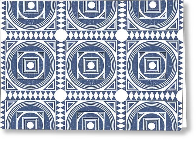 Mediterranean Pattern 1 - Tile Pattern Designs - Geometric - Blue - Ceramic Tile - Surface Pattern Greeting Card