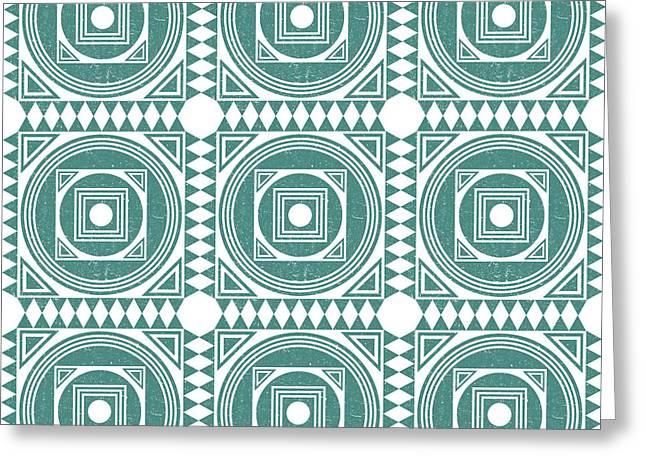 Mediterranean Pattern 4 - Tile Pattern Designs - Geometric - Teal - Ceramic Tile - Surface Pattern Greeting Card