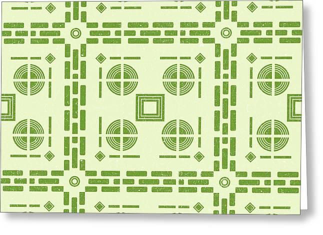 Mediterranean Pattern 6 - Tile Pattern Designs - Geometric - Green - Ceramic Tile - Surface Pattern Greeting Card
