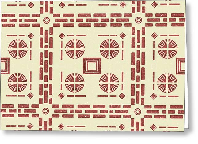 Mediterranean Pattern 8 - Tile Pattern Designs - Geometric - Red - Ceramic Tile - Surface Pattern Greeting Card