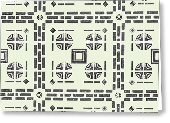 Mediterranean Pattern 9 - Tile Pattern Designs - Geometric - Grey - Ceramic Tile - Surface Pattern Greeting Card