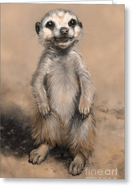 Greeting Card featuring the digital art Meercat by Lora Serra