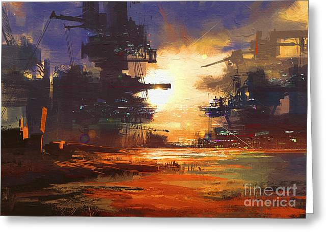 Mega Structure In Sci-fi City At Greeting Card