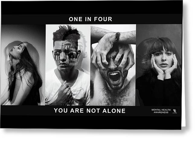 Greeting Card featuring the digital art Mental Health Awareness - You Are Not Alone by ISAW Company