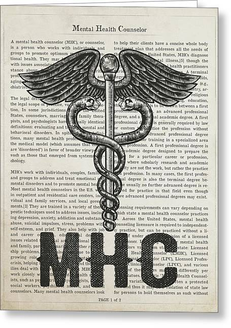 Mental Health Counselor Gift Idea With Caduceus Illustration 01 Greeting Card