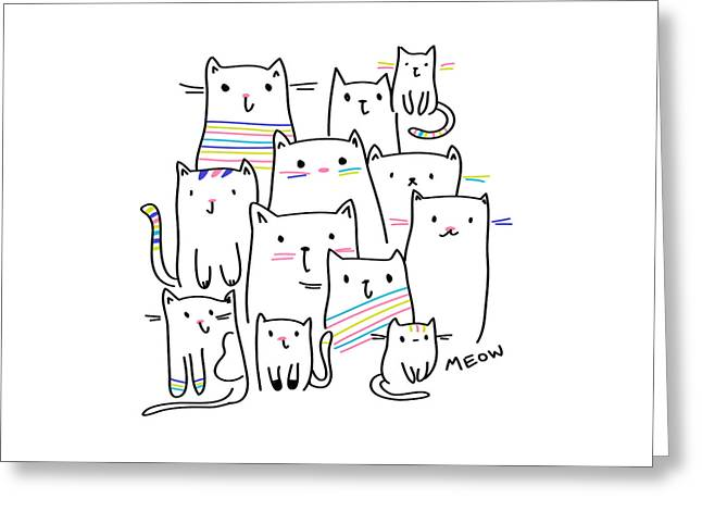 Meow Kitties - Baby Room Nursery Art Poster Print Greeting Card