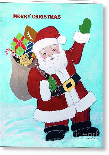 Greeting Card featuring the painting Merry Christmas Santa With Toy Sack by Robin Maria Pedrero