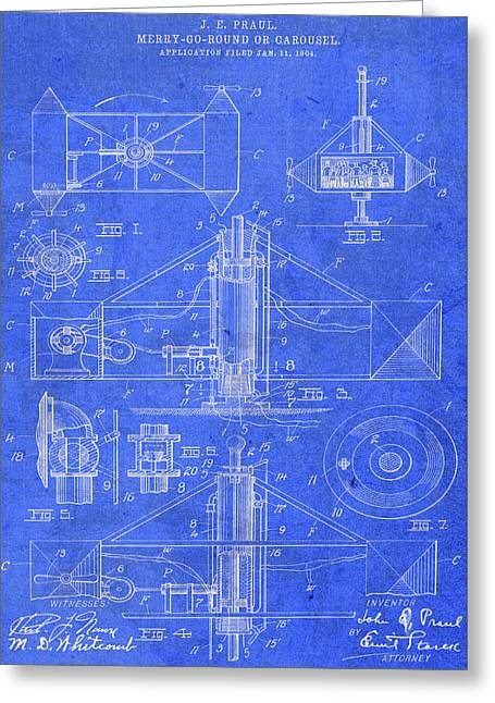 Merry Go Round Amusement Carousel Vintage Patent Blueprint Greeting Card