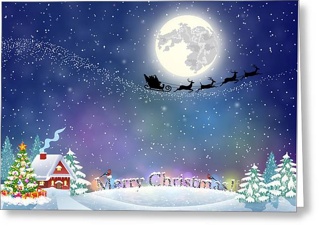 Meryy Christmas And Happy New Year Greeting Card