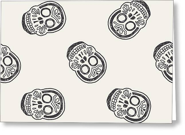 Mexican Skull Doodle Seamless Pattern Greeting Card