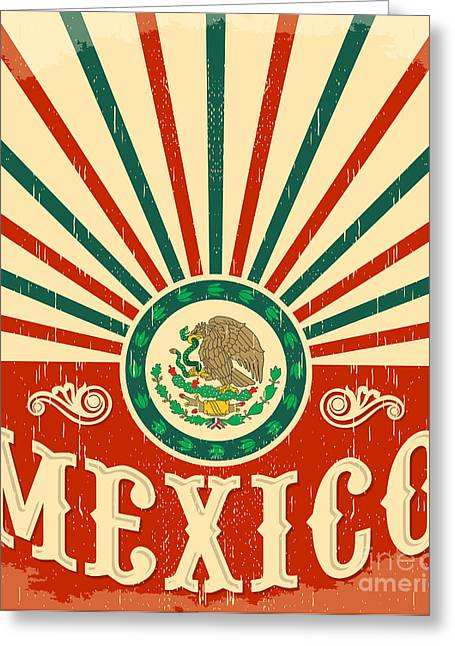 Mexico Vintage Patriotic Poster - Card Greeting Card