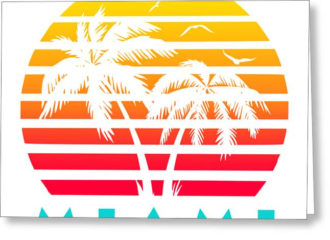 Miami 80s Tropical Sunset Greeting Card