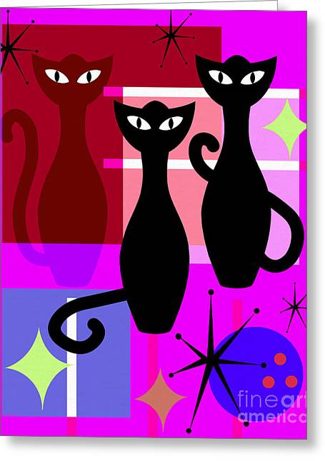 Mid Century Modern Abstract Mcm Bowling Alley Cats 20190113 M103 Greeting Card