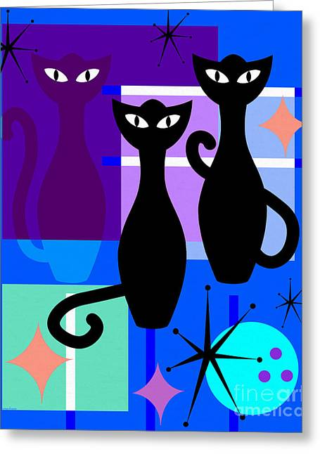 Mid Century Modern Abstract Mcm Bowling Alley Cats 20190113 M180 Greeting Card