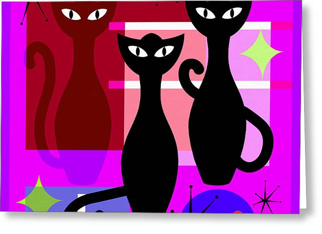 Mid Century Modern Abstract Mcm Bowling Alley Cats 20190113 Square M103 Greeting Card