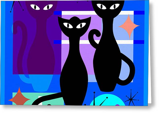 Mid Century Modern Abstract Mcm Bowling Alley Cats 20190113 Square M180 Greeting Card