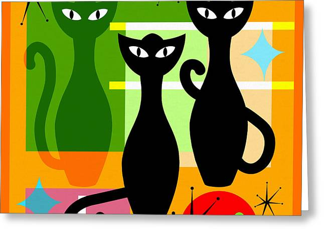 Mid Century Modern Abstract Mcm Bowling Alley Cats 20190113 Square Greeting Card