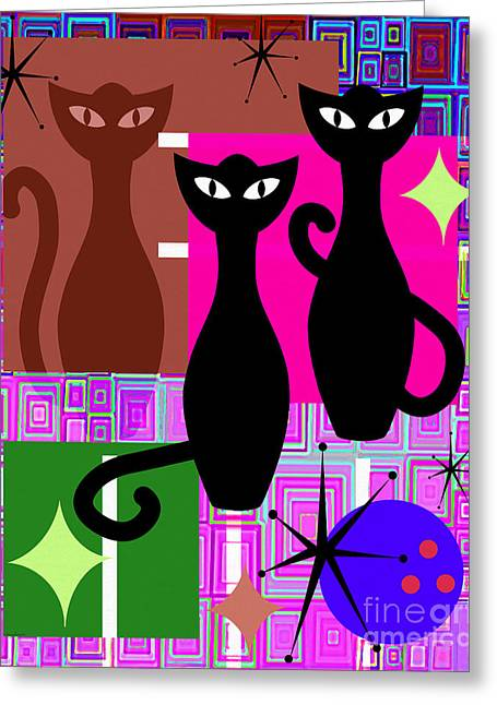 Mid Century Modern Abstract Mcm Bowling Alley Cats 20190113 V2m103 Greeting Card