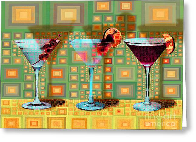 Mid Century Modern Abstract Mcm Three Martinis Shaken Not Stirred 20190127 V1a Greeting Card