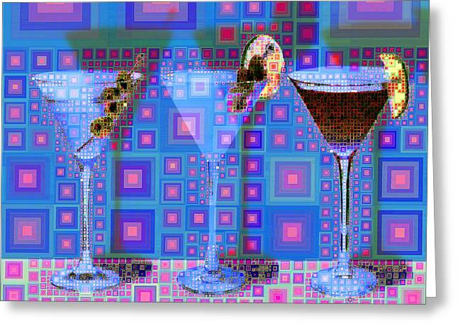 Mid Century Modern Abstract Mcm Three Martinis Shaken Not Stirred 20190127 V2 Square Greeting Card