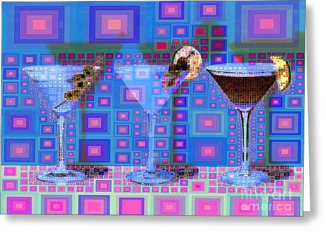 Mid Century Modern Abstract Mcm Three Martinis Shaken Not Stirred 20190127 V2a Greeting Card