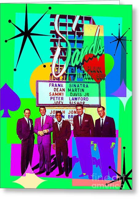 Mid Century Modern Abstract The Rat Pack Frank Sinatra Dean Martin And Sammy Davis Jr 20190120 P112 Greeting Card