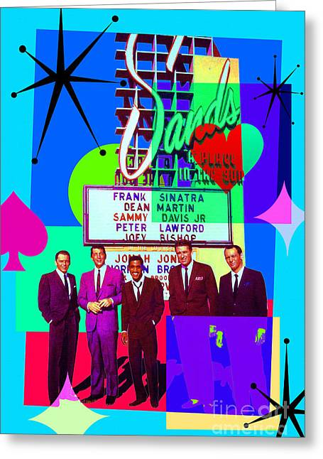Mid Century Modern Abstract The Rat Pack Frank Sinatra Dean Martin And Sammy Davis Jr 20190120 P160 Greeting Card by Wingsdomain Art and Photography