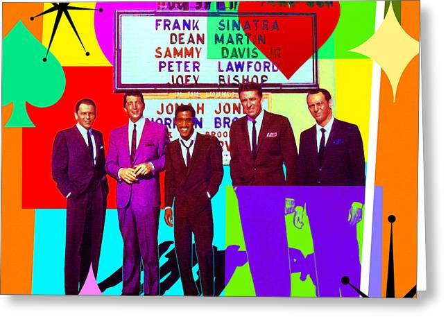 Mid Century Modern Abstract The Rat Pack Frank Sinatra Dean Martin And Sammy Davis Jr 20190120 Sq Greeting Card