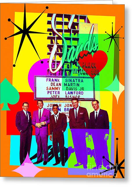 Mid Century Modern Abstract The Rat Pack Frank Sinatra Dean Martin And Sammy Davis Jr 20190120 Greeting Card